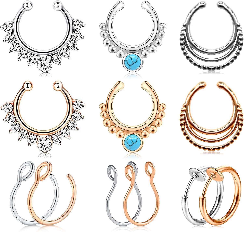 JFORYOU Fake Nose Rings Fake Septum Hoop Rings Stainless Steel Faux Nose Septum Ring Non Piercing Clip On Lip Helix Tragus Hoop Rings Body Piercing Jewelry