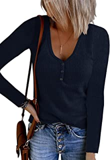 Womens Henley Shirts Long Sleeve V Neck Button Down...