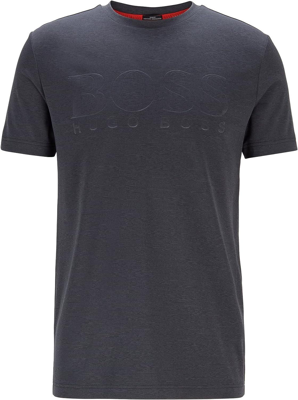Hugo Boss Men's Teetech Short Sleeve Poly Logo Blue T-Shirt