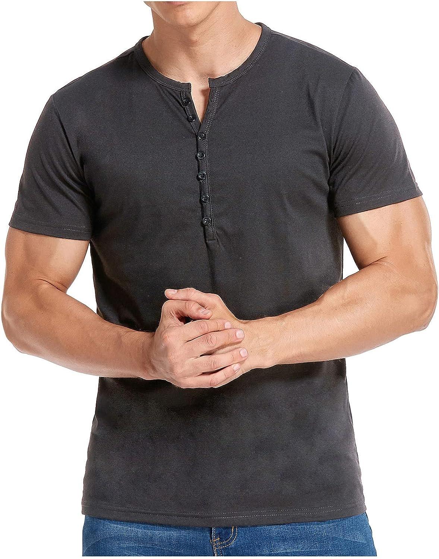 Men's Henley Shirts, Short Sleeve Buttons Front Placket Plain Summer T-Shirt Cotton Comfy Casual Basic Shirts Slim Fit