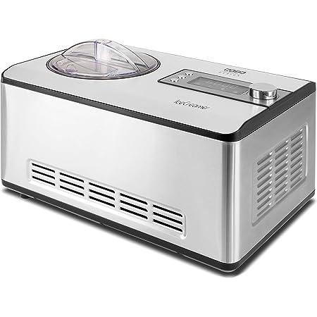 Caso 3298 Ice Creamer-2 en 1 Machine à yaourt design avec technologie de compresseur, produit jusqu'à 2 l Sorbetière en acier inoxydable 18/8