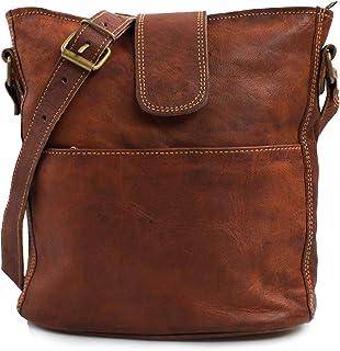 Nama 'Nicola' Umhängetasche Echtes Leder Shopper für Damen Vintage Look Handtasche Beutel Tasche Schultertasche Multitasch...
