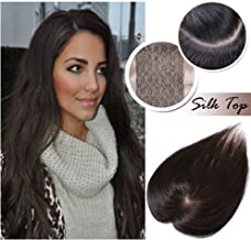 16 inch Silk Base Top Hairpiece for Women Dark Brown Human Hair Topper Clip in Toupee Middle Part with Thinning Hair Hand-made Wiglet(16
