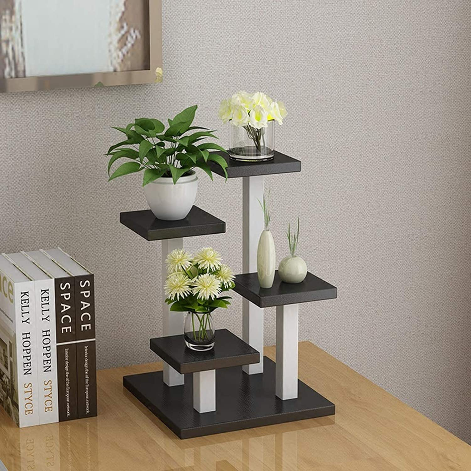 Flower racks - Solid Wood Flower Stand Creative Small Plant Display Shelf Multifunctional Storage Rack 24×24×35cm (color   E)