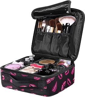 Luxspire Portátil Bolsa Cosmetica, Bolsa de neceser con gran capacidad y diseño divisible, Bolso de organizador maquillaje en viaje, Almacenamiento de Maquillaje Cosmético - Labios Rojos