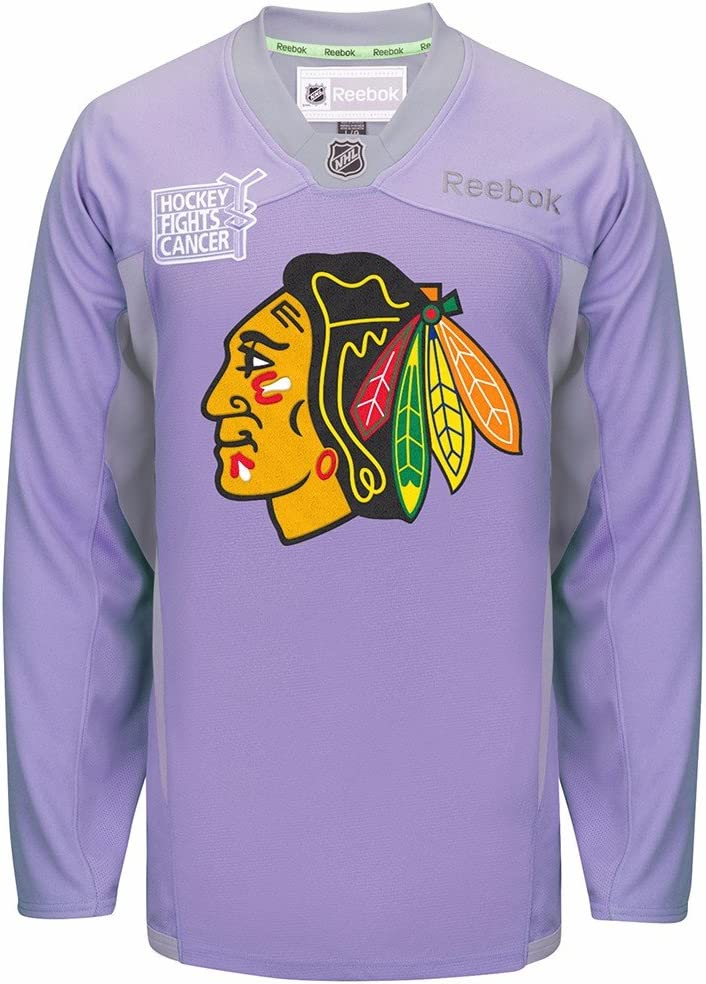 Reebok Chicago Max 50% OFF Blackhawks Hockey Free shipping anywhere in the nation Fights Cancer NHL Practice Purp