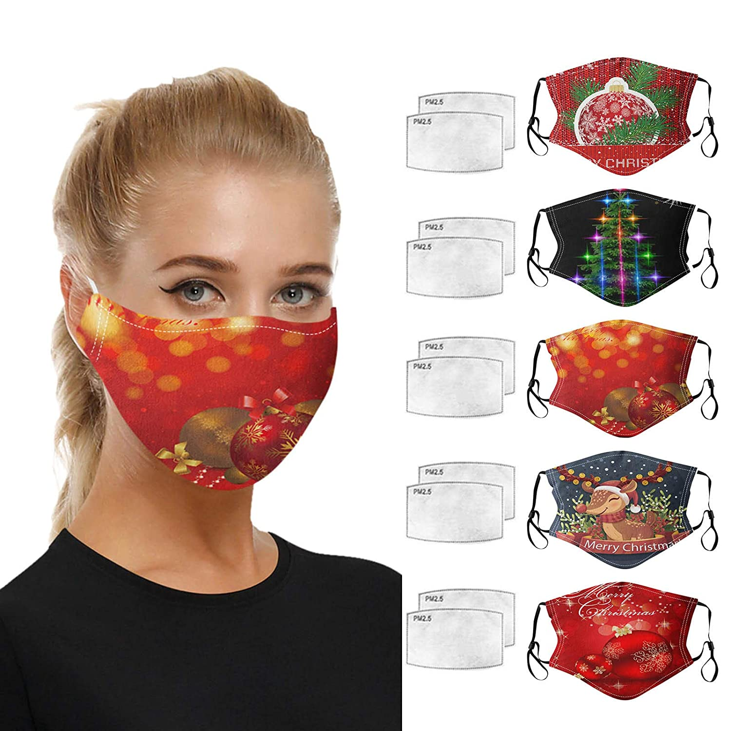 5Pcs Christmas Face_Mask With Filters Reusable Washable Cotton Cloth Bandanas, Adjustable Breathable Anti Dust Mouth Protective Santa Tree Snowman Printed Festival Decoration for Adults Unisex