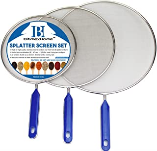 "Grease Splatter Screen For Frying Pan Cooking - Stainless Steel Splatter Guard Set of 3-8"", 10"" and 11"" inch - Super Fine Mesh Iron Skillet Lid- Hot Oil Shield to Stop Prime Burn (3, 8"",10"",11"")"