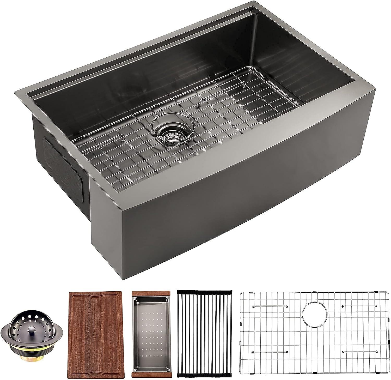 33 Houston Mall Special Campaign Farmhouse Sink Black Dcolora Gunmetal M Kitchen Inch