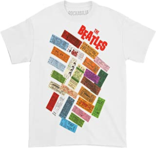 Beatles Men's Tickets Stacked T-Shirt White