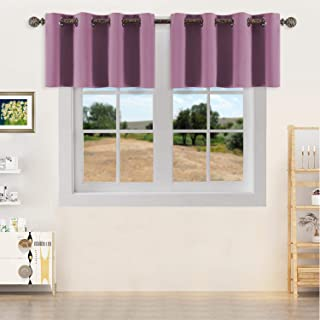 YGO Room Darkening Kitchen Curtain Valance Pinkish Purple Short Blackout Window Treatments Drapes Valances for Small Window Living Room Bedroom W52 X L18 Inch Two Pieces