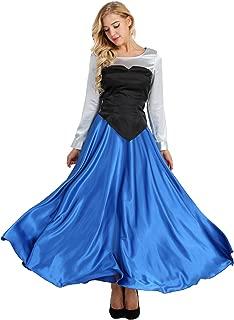 Adult Women's 3 Pieces Mermaid Halloween Cosplay Costume Princess Party Dress