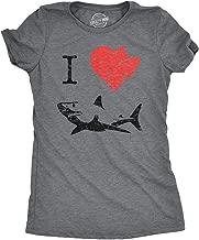 Women's I Love Sharks T Shirt Classic Shark Bite Shirt Shark Tee for Women