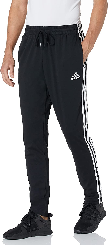 adidas Men's Essentials Single Jersey Tapered Open Hem 3-Stripes Pants