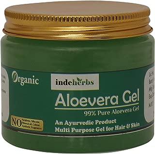 Indeherbs 99% Pure Paraben Free Aloe Vera Gel Multipurpose for Skin and Hair, 250ml