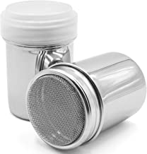 AnFun 2 Pack Powder Sugar Shaker with Lid - Stainless Steel Fine Mesh Shaker Cinnamon Icing Sugar Powder Cans Cocoa Flour ...
