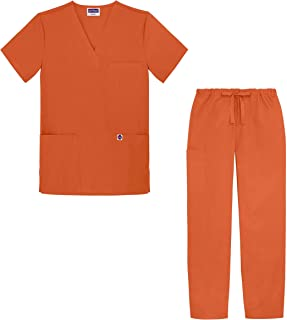 Unisex Classic Scrub Set V-Neck Top/Drawstring Pants (Available in 12 Solid Colors)