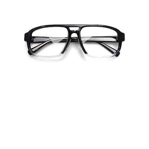 16e7eddce79 Komehachi - Classic Aviator Unisex Double Bridge Thick Rim Eyeglasses Frame  with RX-Ready Clear