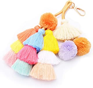 Colorful Boho Pom Pom Tassel Bag Charm Key Chain