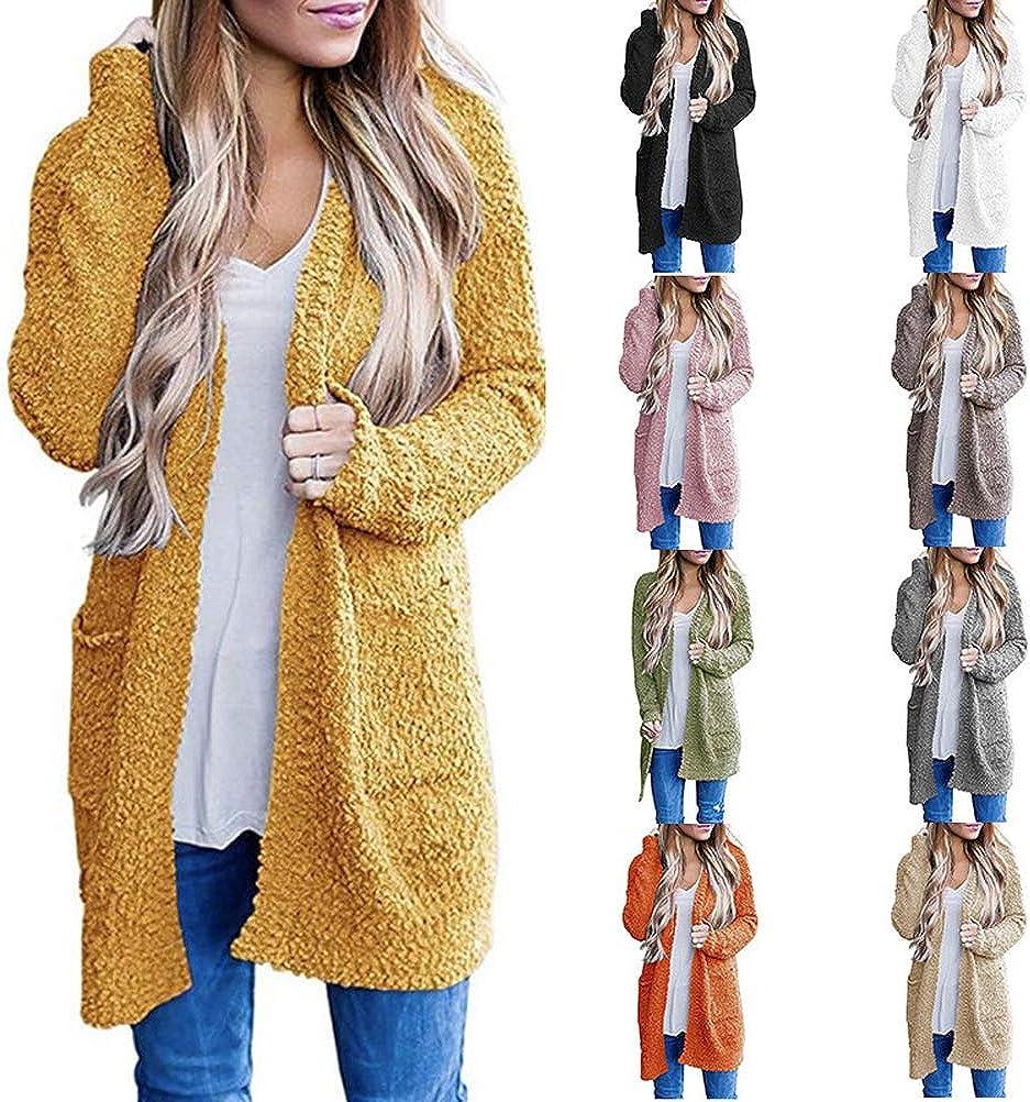 Onsoyours Cardigan Damen Casual Langarm Fleece Strickjacke Loose Outwear Lang Strickcardigan Sweater Wollmantel Winterjacke Mit Taschen A Weiß