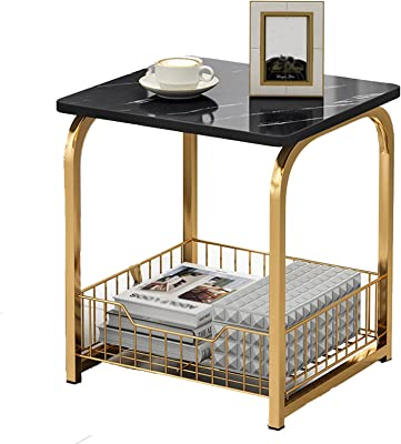 Sofa End Table Side Table,Coffee TableMarble Metal, Storage with with Storage Basket for Living Bedroom Table Laptop Desk Furniture for Living Mobile Side Table (Color : A)