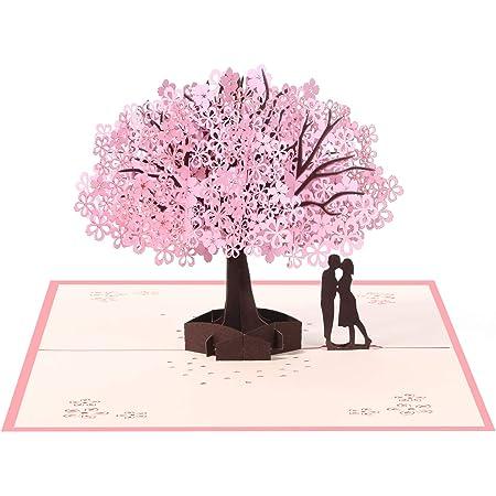 Vicloon Biglietto d'Auguri, 3D Carta Matrimonio Anniversario La Festa Della Mamma Nozze Carta Pop up Amanti Romantici Sotto il Ciliegio per Moglie Marito Fidanzata Sposa e Madre