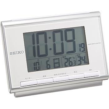 セイコー クロック 目覚まし時計 電波 デジタル カレンダー 温度 湿度 表示 白 パール SQ698S SEIKO