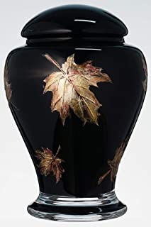 Black Memorial Urn for Human Ashes - Handmade Glass Cremation Urn - Decorated with Etched and Painted Metallic Brown Leaves - Urn For Ashes of Adult or Pet - Black / Brown - Vol. 183 cubic inch (3L)