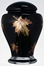 Black Memorial Urn for Human Ashes - Handmade Glass Cremation Urn - Decorated with Sandblasted/Painted Metallic Brown Leav...