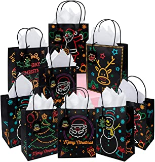 18Pcs Christmas Bags, Glow in Dark Paper Gift Bags Medium Size with 18pcs Tissue Paper and 18pcs Gift Tags for Holiday, Classrooms and Party Favors by Haojiake