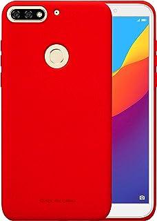 جراب خلفي ناعم من السيليكون المطفأ المرن لهاتف Huawei Y7 Prime 2018 Molan Cano احمر
