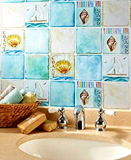 Simply Works Imports Peel and Stick Tile Backsplash | Kitchen or Bathroom Decorative Wall Covering| Removable Easy to Install | 2 Pack Coastal Design
