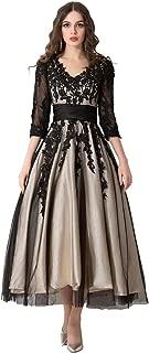 Women's Black Lace Applique Tulle Long Formal Evening Dress