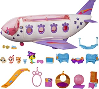 Littlest Pet Shop B1242 Pet Jet Playset Toy, Includes 4 Pets, Adult Assembly Required (No Tools Needed), Ages 4 and Up, Pink (Amazon Exclusive)