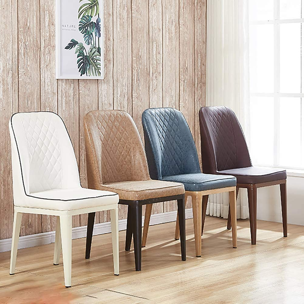huoyijia Chaise De Salle à Manger Jambes De Fer Moderne Simple Les Loisirs Nordique HôTel Chaise De Bureau MéNage Tabouret Café Simple Chaise Dossier White