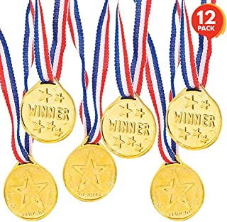 ArtCreativity Gold Prize Medal for Kids, Set of 12 Medals on Ribbon Necklaces, Olympic Style Metal Winner Awards for Sport...