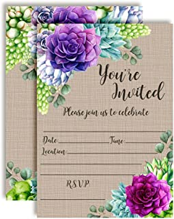Watercolor Succulent Party Invitations for Birthdays, Baby Showers, Bridal Showers and More! 20 5