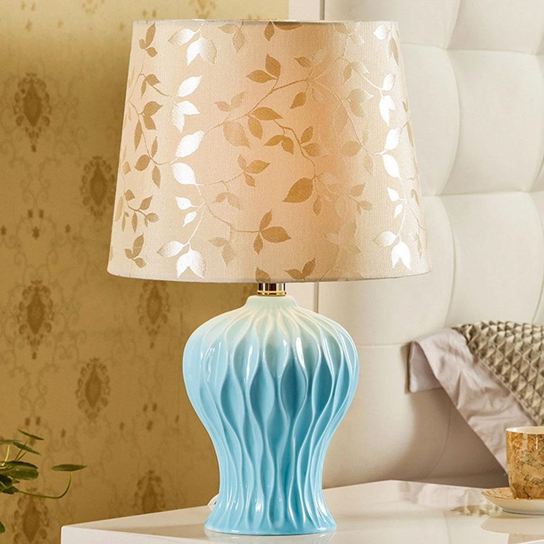 DENG E27-Port führte keramische Tischlampe Mittelmeer-Art-Reine handgemachte kreative Pastorale europäisch-amerikanische Schlafzimmer-Nachttischlampe 480  260  120mm Blau B07HRK3W51       Ermäßigung