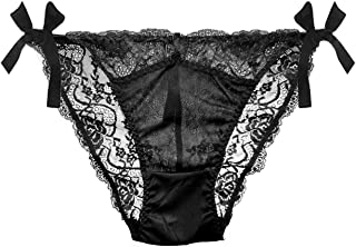 Womens Silk Lace G-String Thong Panty, Sexy T-Back Underwear with Soft Satin