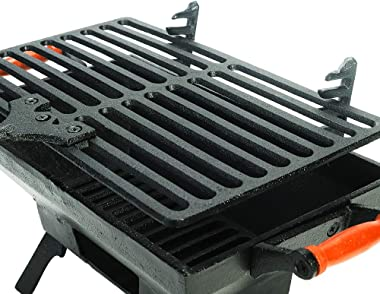 Sungmor Heavy Duty Cast Iron BBQ Grill - Indoor Outdoor Tabletop Small Charcoal Grill Stove - 31.5 x 19CM, Rectangle - Ideal