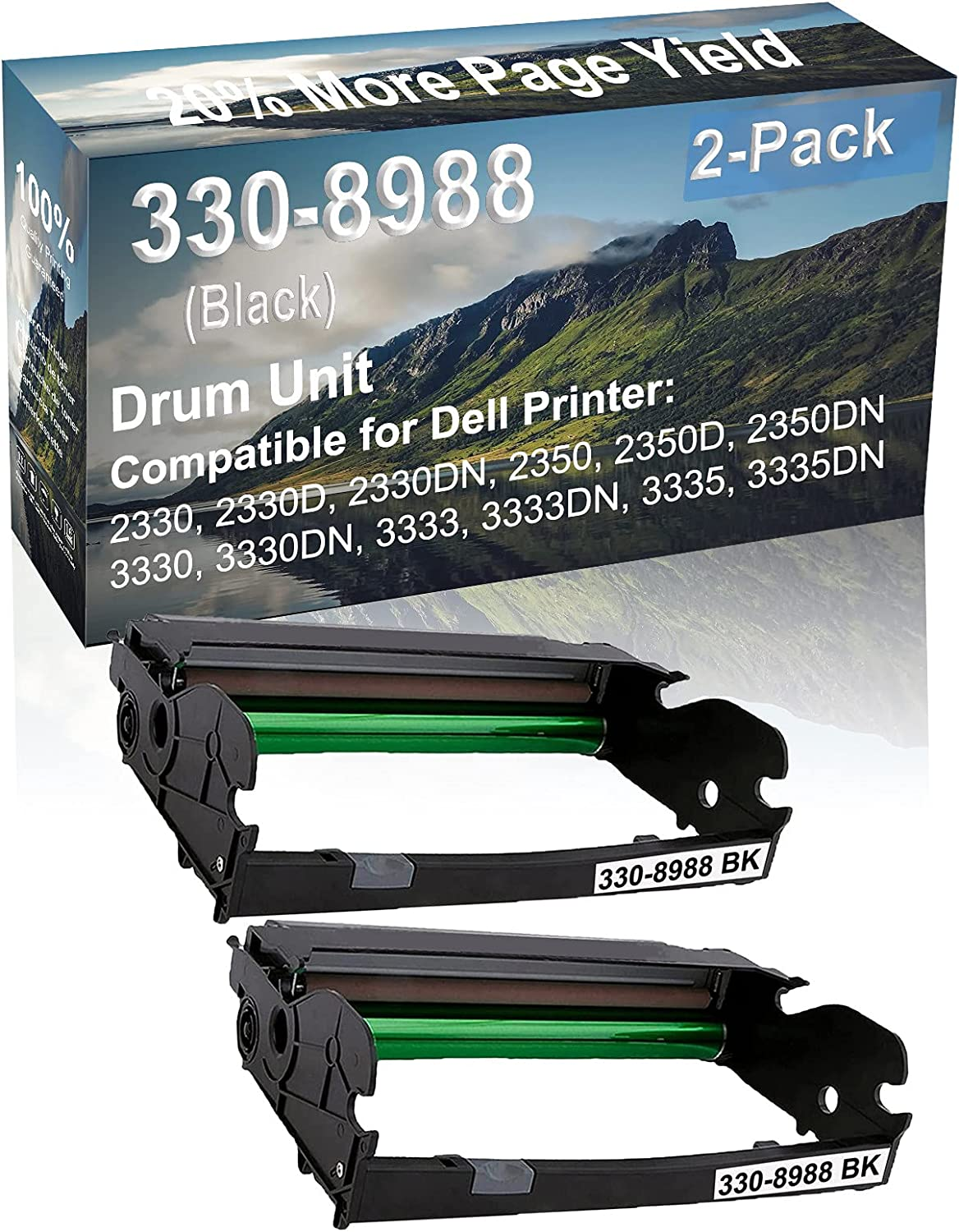 2-Pack Compatible Drum Unit (Black) Replacement for Dell 330-8988 Drum Kit use for Dell 3333, 3333DN, 3335, 3335DN Printer