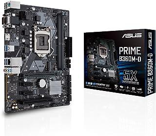 ASUS Prime B360M-D - Placa Base mATX Intel de 8a y 9a Gen. LGA1151 con iluminación LED, DDR4 2666 MHz, Soporte M.2, Compatible con Intel Optane Memory, HDMI, SATA 6 Gbps y USB 3.1 Gen. 2