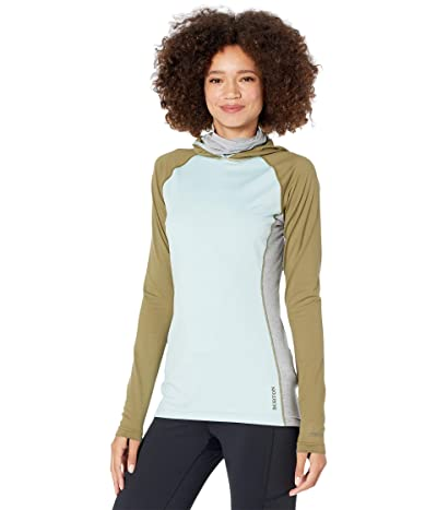 Burton Midweight X Base Layer Long Neck Hoodie (Martini Olive/Ether Blue) Women
