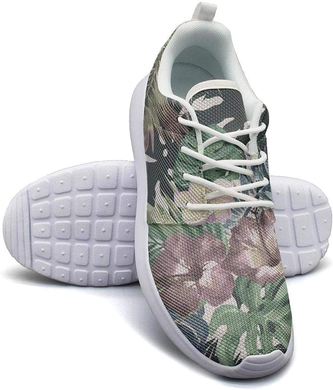CHALi99 Comfort Womens Lightweight Mesh shoes Natural Tropical Floral Hawaiian Ferns Sneakers Running Lace-Up