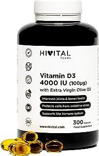 Vitamina D3 4000 UI | 300 perlas para 10 meses | Vitamina D Natural Colecalciferol con Aceite