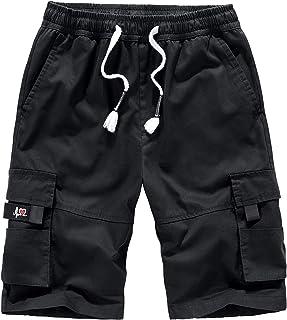 Herren Kurze Hosen Cargo Shorts Bermudas Sporthose Gummizug Capri Freizeithose