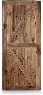 BELLEZE 36in x 84in Sliding Barn Door Unfinished Solid Knotty Pine Wood Slab Arrow Double Side Single Door, Brown