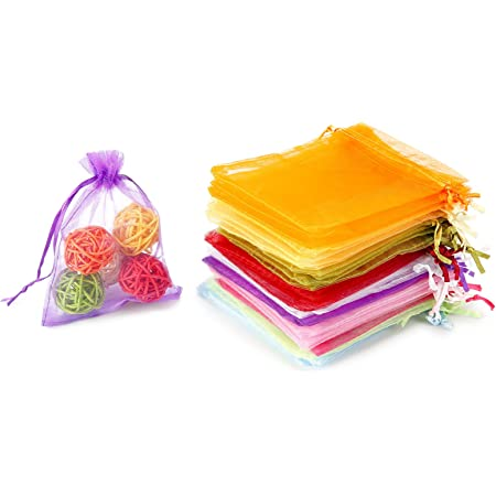 100//200 Organza Wedding Party Favor Gift Bags Candy Sheer Bag Jewelry Pouches