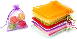 """WenTao 100PCS Organza Gift Bags, 4x4.72"""" Mixed Color Wedding Favor Bags with Drawstring, Premium Candy Jewelry Pouch Party..."""