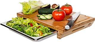 cutting board with stainless steel tray